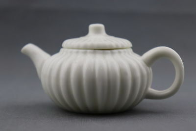 China Collectable Porcelain Hand-Carved Natural Texture Noble Exquisite Teapot