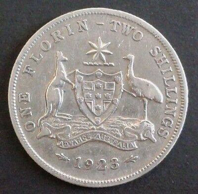 1923 Australian SILVER Florin (2/-) - in good Fine or better condition