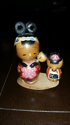 Vintage  MOTHER, CHILD , and BABY  Japanese Wooden Wood KOKESHI Dolls
