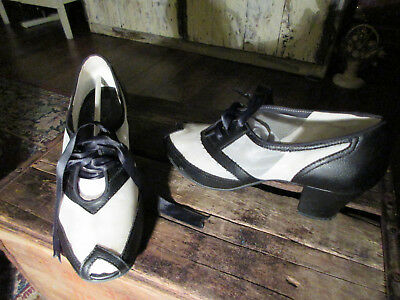 Aris Allen 1940s Black & White Peep-Toe Mesh Oxford Swing - Size 9 - Pre-owned