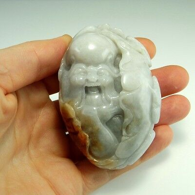 Lucky Qing Natural Nephrite Jade Pebble Pendant God of Longevity Antique Chinese