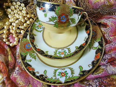 (B) Jewelled Tea Cup And Saucer Trio Heavy Raised Gold  Gilt Hand Painted Fab!