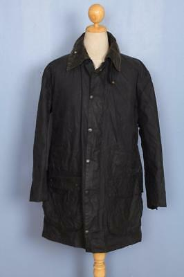 Mens BARBOUR Border WAXED Jacket Navy Size 40