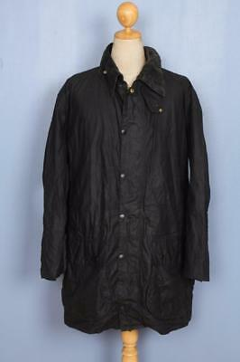 Mens BARBOUR Border WAXED Jacket Navy Size 46