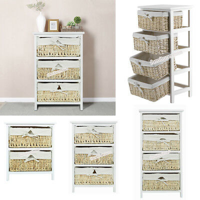 Maize Baskets Unit White 2 3 4 Drawer Wood Storage Cabinet Organiser Bedroom New