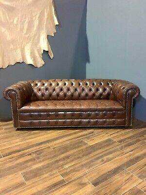 An Exceptional Vintage Leather Chesterfield Sofa In Conker Tan