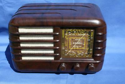 Gorgeous Vintage Mottled Brown  Bakelite Awa Valve Radio
