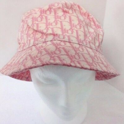 Vintage Christian DIOR Pink Monogram Bucket Hat Womens Ladies Rare 90s 2000s ac07bbdeb11