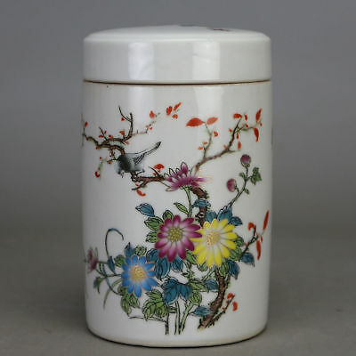 Chinese old porcelain  famille rose  glaze bird & flower pattern  tea caddy