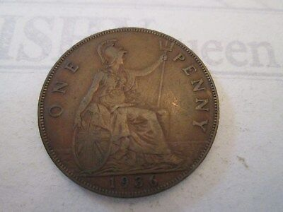 1936 ONE PENNY! Vintage GREAT BRITAIN coin: copper composition: GEORGE V   IS47
