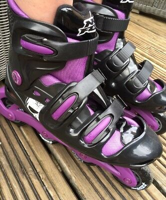 No Fear Roller Blates/ Inline Skates Purple And Black Girls Size 5-8 Adjustable