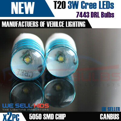 2 x T20 W21/ 3157/7443 BRAKE TAIL DRL SUPER WHITE 3W CREE CHIP LED BULBS