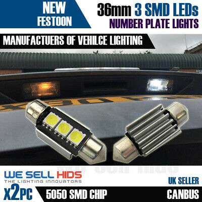 2x Fiat Ducato 230 C5W Bright Xenon White LED Number Plate Upgrade Light Bulbs