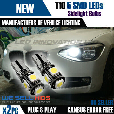 2x T10 5 SMD LED WHITE SIDE LIGHT BULBS W5W 501 CANBUS NO ERROR FREE XENON UK