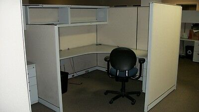 135 STEELCASE  7'x7' Office Cubicles Modular w/Drawers, Over Shelves, Lights  NR