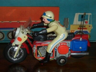 Blechspielzeug Tin Toy MOTORRAD PE820 China Motorcycle Blech Japan Red Flag