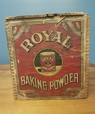 Antique Royal Baking Powder Advertising Dovetailed Box Crate Paper Lbl. New York