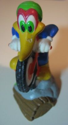 """Woody Woodpecker riding Motorcycle squeezable toy 4"""" Tall Walter Lantz"""