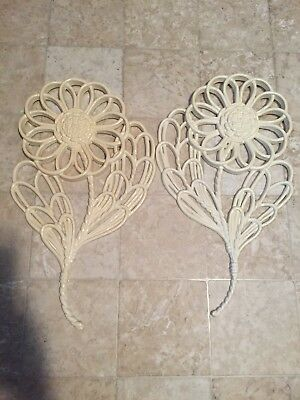 2 Large Flower Wall Hangings Vintage 1978 Homco Home Interiors Syroco Plaques
