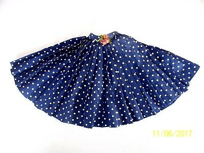 Vintage 1950s Madame Alexander Cissy Tagged Polished Cotton Navy Polka Dot Skirt