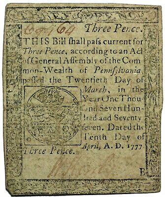 April 1777 Pennsylvania 3 Pence U.S. Colonial Currency Note