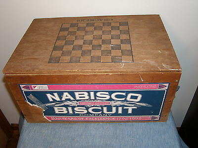 Vintage Nabisco Wooden Hinged Box with Checker Board Top, Anniversary 1792-1992