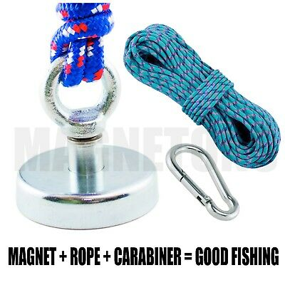 Magnet  METAL DETECTOR Recovery TREASURE FINDER_FERRITE_Fishing 60kg + ROPE 10m