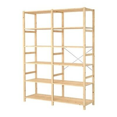 2 Ivar (Ikea) Fully Adjustable Storage Units with 11 shelves and metal support.