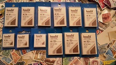 12 Packs Unopened Hawid Mounts 50 Mounts Per Pack  Sizes As Per Photo