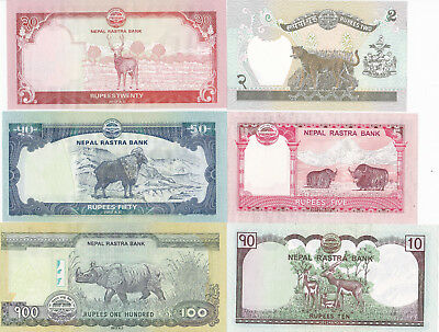 Nepal Set 2, 5,10, 20, 50 & 100 Rupees Banknotes - Nepalese Animals on Back  UNC