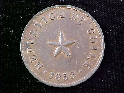 Chile 1853 1/2c KM#126  Pleasing Brown AU with traces of luster