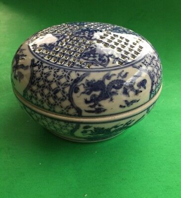 Dragon Lidded Bowl Blue and White Porcelain Asian Vintage