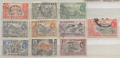 Nigeria 1953 ten stamps to 5/- five shillings used