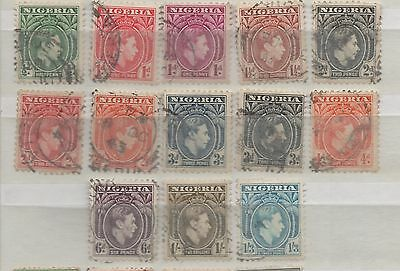 Nigeria 1935 definitive stamps 13 values to 1/3 including 4d orange used