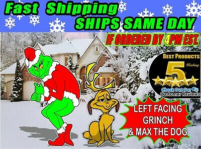 grinch stealing christmas lights yard art left facing grinch max free shipping