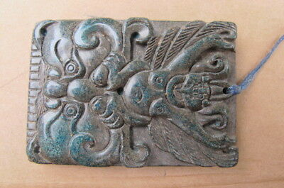 UNKNOWN BLUE-GREEN STONE AMULET of a UNKNOWN PURPOSE or USE - CHINESE BAPHOMET ?
