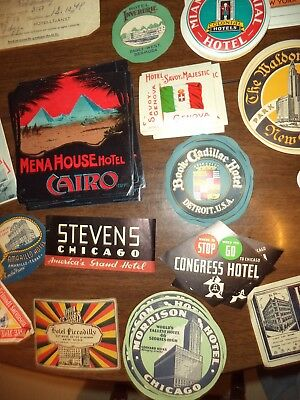 Lot of 77 Hotel Luggage Labels