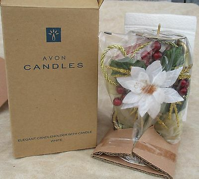 Avon Elegant Candle Holder Poinsettia Vanilla Candle
