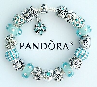 Authentic Pandora Silver Charm Bracelet with Aqua Blue Heart European Charms New