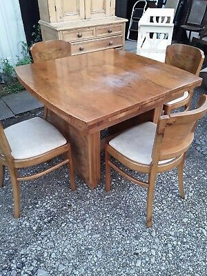 walnut art deco table and 4 chairs