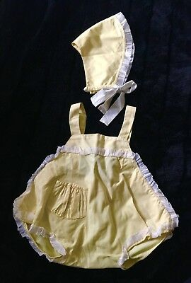 Vintage Baby Girl Bubble Romper Set Frilly Sun Bonnet Yellow Pinafore Style Hat