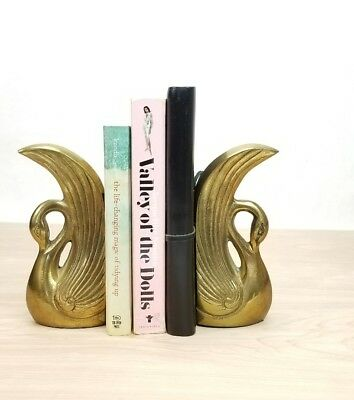 Solid Brass Swan Bookends Vintage Mid Century Hollywood Regency Style Over 2 LBS