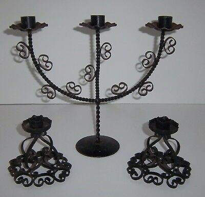 Vintage Black Wrought Iron Spanish Revival Candelabra Gothic Metal Candle Holder