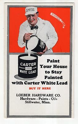 Vintage Ink Blotter Advertising Carter White Lead Paint with Picture of Painter