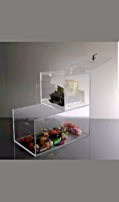 TRUST/HONOR BOX cheap locking acrylic Donation Box w/ candy compartment 984 sold