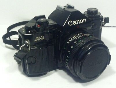 Vintage Canon A-1 35mm Camera With 50mm Lens (Tested Read Details)