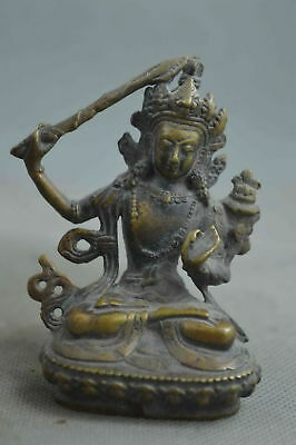 China Collectable Handwork Old Copper Carving Buddha Hold Weap0n Exorcism Statue