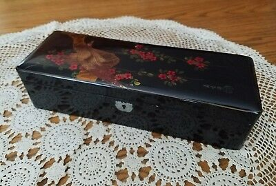Antique Japanese Black Lacquered Hand Painted Signed Glove Trinket Box 12×4.25×3