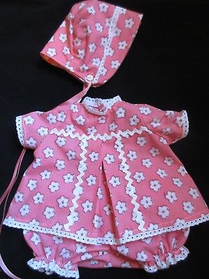 "3 Piece Floral Dress Set For 19"" Vintage American Character Baby Doll Toodles"