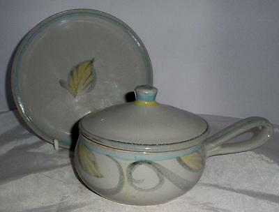 Denby Pottery Peasant Ware Pattern Soup Bowl with Lid & Stand made in Stoneware